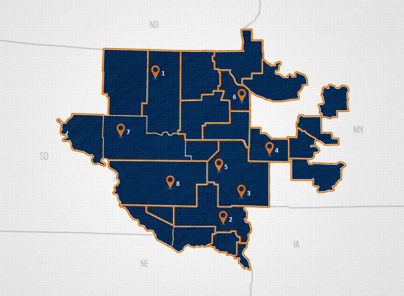 East River operates eight regional service centers in: Aberdeen (1), Beresford (2), Brandon (3), Marshall, MN (4), Madison (5), Milbank (6), Miller (7) and Mitchell (8).